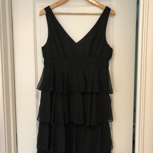 Tiered ruffle black dress